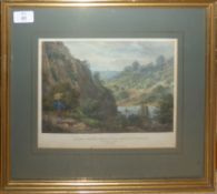 """After G Hawkins, """"Clifton and St Vincents Rocks from Leigh Woods"""", hand coloured engraving,"""