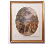 """William J Boddy (1832-1911), """"Golden Gleam"""", watercolour, signed and dated 1856 lower right, 51 x"""