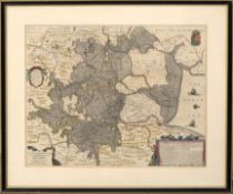 Ioannis Ianbonii - hand coloured engraved map, circa 1650 - A general plot and description of the