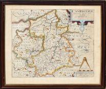 Christopher Saxton/Wilhelmus Kip, hand coloured engraved map of Cambridge, 29 x 32cm