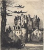 """Louis Whirter, """"Glamis Castle"""", black and white proof etching, signed and inscribed with title in"""
