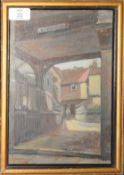 "Geoffrey Mortimer, ""Tombland Alley, Norwich"", oil on board, signed lower left, 27 x 18cm"