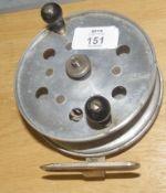 Vintage alloy fishing reel, 11cm diam