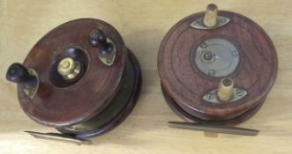 Two vintage wooden and brass fishing reels, (2)