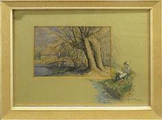 """Sim (20th century), """"The Suffolk Stour near Flatford Mill"""", pen, ink and watercolour, signed lower"""