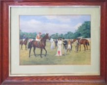 Isaac J Cullen (act 1881-1947), Bayardo in the Paddock at Epsom with Danny Maher up, watercolour,
