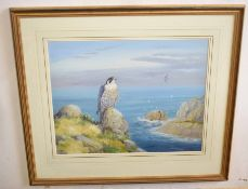 •AR Richard Robjent (Born 1937), Peregrine Falcon in Coastal Landscape, watercolour, signed lower