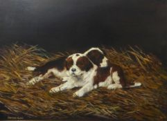Stephen Clark (contemporary), Puppies, oil on canvas, signed lower left, 29 x 39cm
