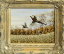 "Mark Chester (contemporary), ""Autumn Stubble II - Pheasants"", acrylic on board, signed lower"