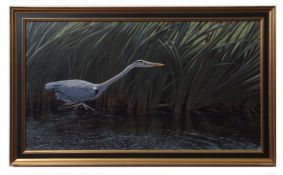 C J F COOMBES (20TH CENTURY) Heron (reproduced in TOMORROW IS TOO LATE) acrylic, signed and dated