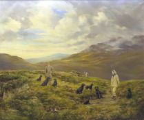 William E Barrington-Browne (1908-1985), Couple with labradors in Highland landscape, oil on canvas,