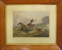 After H Alken, engraved by J Harris, Hunting scenes, pair of hand coloured engravings, published