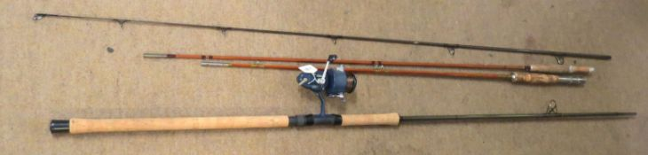 Two vintage fishing rods with a Mitchell 440A match reel