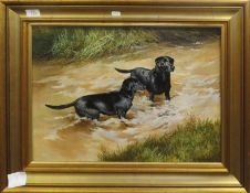 Berrisford Hill (20th century), Black Labradors in a river, oil on canvas, signed lower right, 39
