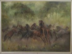 """Shirley Carnt (contemporary), """"Brumbie rounding up time"""" oil on canvas, signed lower left, 75 x"""