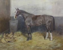 Thomas Ivester Lloyd (1873-1942), Horse in stable, oil on canvas, signed lower right, 38 x 48cm