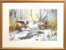 "Carl Donner (born 1957), ""Snipe in a snowy woodland"", watercolour, signed lower right, 35 x 53cm"