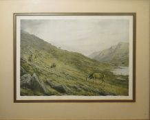 Vincent Balfour-Browne (1880-1963), Highland landscape with deer, coloured print, signed in pencil