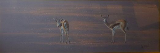 Paul B Dixon (born 1956), Antelopes, pastel, signed and dated 98 lower right, 35 x 108cm