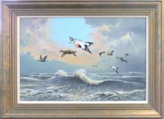 "Carl Donner (born 1957), ""Eiders over a stormy sea"", oil on board, signed lower right, 50 x 75cm"