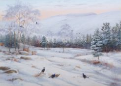 "•AR Richard Robjent (Born 1937), ""Winter in Glen Esk - Blackgame"", watercolour, signed and dated"