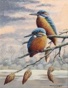 "Mark Chester (contemporary), ""Autumn Rest - Kingfishers"", acrylic on board, signed lower right, 24 x"
