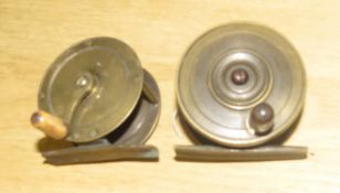 Two small vintage brass fishing reels, both approx 6cm diam (2)
