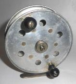 Vintage brass fishing reel, 10cm diam