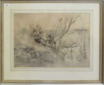 """•AR Frank Southgate RBA, (1872-1916) """"The Wildfowler"""", sepia watercolour, signed and dated 99"""