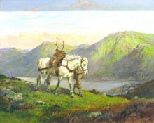 Thomas Ivester Lloyd (1873-1942), Deer Hunter in Highland landscape, oil on canvas, signed lower