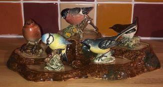 Beswick ceramic 5 bird display stand together with 5 Beswick birds