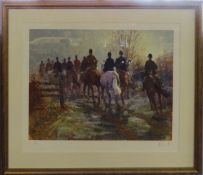 Malcolm Coward, (born 1948), Hunting party, coloured print, signed and numbered 91/150 in pencil