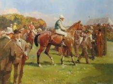 "After Alfred J Munnings, ""At Hethersett Races"", modern coloured print, 46 x 60cm"