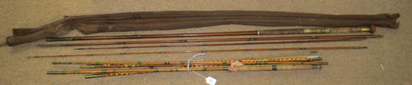 Three vintage fishing rods