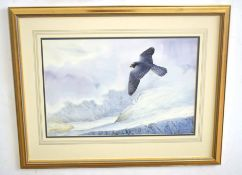 •AR Owen Williams (20th Century), Peregrine in Flight over Snowy Mountains, watercolour, signed