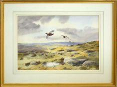 •AR Robert W Milliken (1920-2014), Grouse in Flight over Moorland, watercolour, signed lower