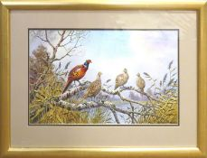 "Carl Donner (born 1957), ""Pheasants on a birch log overlooking a lake"", watercolour, signed lower"