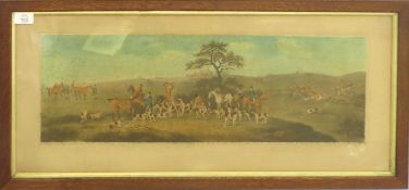 Hunting scenes, set of four 19th century hand coloured engravings, 22 x 66cm (4)