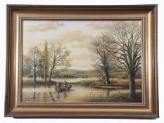 """S G Anderson (20th century), """"Flooded Ouse (Anglers in a rowing boat)"""", oil on canvas, signed and"""