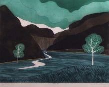"•AR John Brunsdon, ARCA, (1933-2014), ""Gordale Scar"", coloured etching and aquatint, signed,"