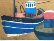 AR Geoffrey Elliott (born 1935), Fishing boat, coloured lithograph, signed and numbered 1/11 in