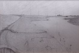 "•AR Caroline McAdam Clark (born 1947), ""River Alde"", ""Muckle Flugga"", two pencil drawings, both"