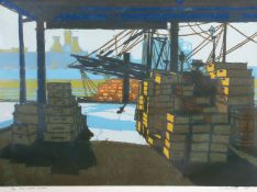 "•AR H John Jackson, ARE (born 1938), ""Fish Wharf, Sunday"". linocut, signed, dated 68, numbered 14/25"