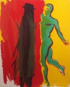 """•AR Allen Jones (born 1937), Female figure, coloured lithograph, signed, dated 85 and inscribed """""""