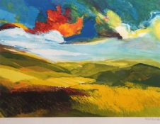 AR David Leverett (born 1938), Landscape, coloured artist's proof with publisher's blind stamp,