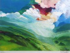 "•AR David Leverett (born 1938), ""Light Rain"" and ""Distant Hills"", pair of coloured lithographs, both"