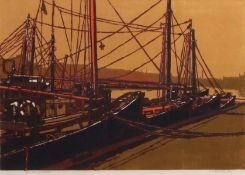 "•AR H John Jackson, ARE (born 1938), ""Fish Wharf/8"", linocut, signed, dated 69, numbered 24/50 and"