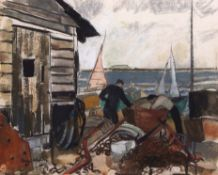"•AR Jenny Chorley (20th century), ""Boatyard at Orford"", watercolour, signed lower left, 39 x 49cm."