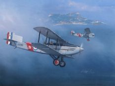 "•AR A R Cowland (20th century), ""Beauty and the Beast - Fairey III and Blackburn II"", watercolour,"