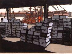 "•AR H John Jackson, ARE (born 1938), ""Fish Wharf, Sunday/II"", linocut, signed, dated 70, numbered"